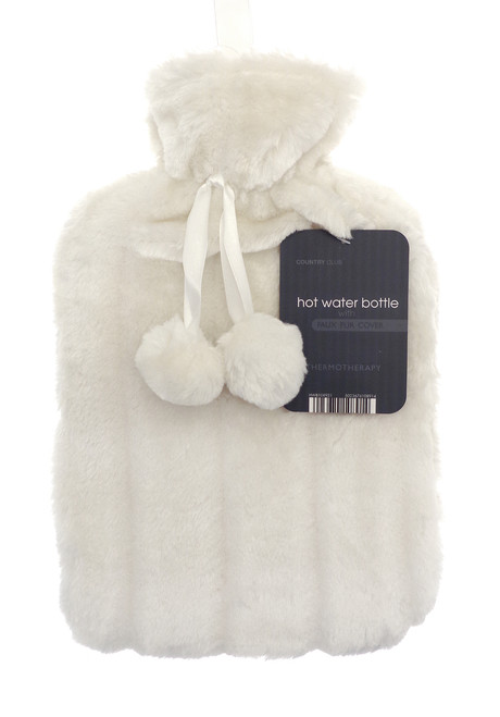 Hot Water Bottles- Furry- Cream