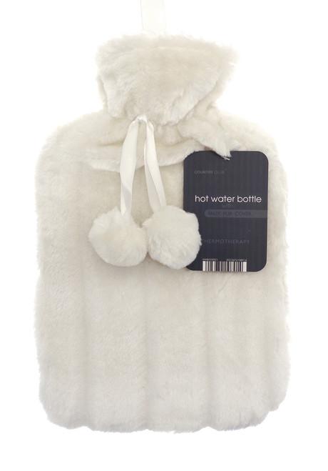 Hot Water Bottles- Furry- Cream
