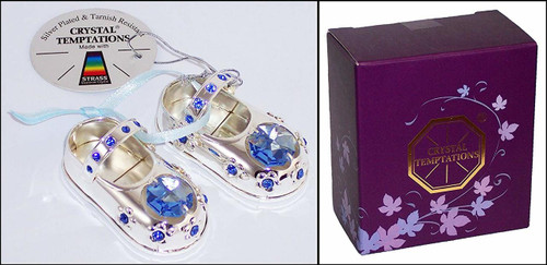 Little Treats Silver Plated Crystal Baby Shoes (Blue)