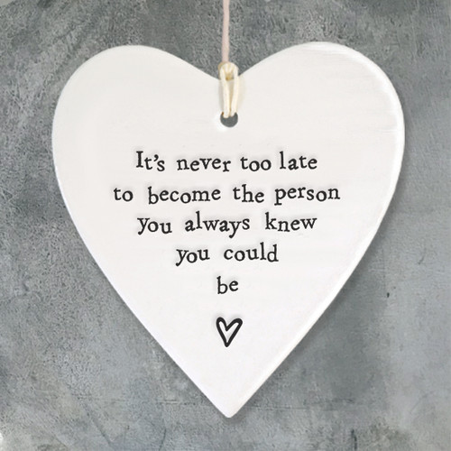 Porcelain round heart-It's never too late