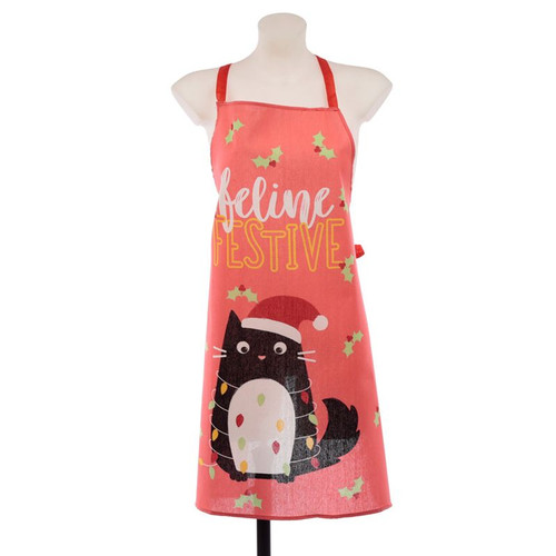 Christmas Festive Feline Cat Apron and Tea Towel set