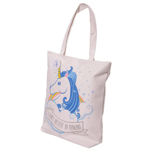 Unicorn Design Cotton Bag with Zip and Lining