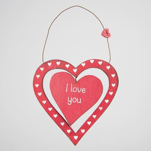 A lovely red wooden plaque made up of a thin heart, patterned with tiny hearts, inside which is a solid heart displaying the words 'I love you'. On the wooden hanging wire sits another small heart.   A delightful little gift for your loved one at any time of the year. •Dimension - 20 x 13 x 1 cm •Material - Paulownia Wood •Colour - Red, White/Cream