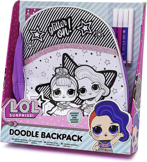 L.O.L. Surprise ! LOL Colour Your Own Backpack for Girls - Contains Backpack, 4 Markers and a LOL Surprise Gift
