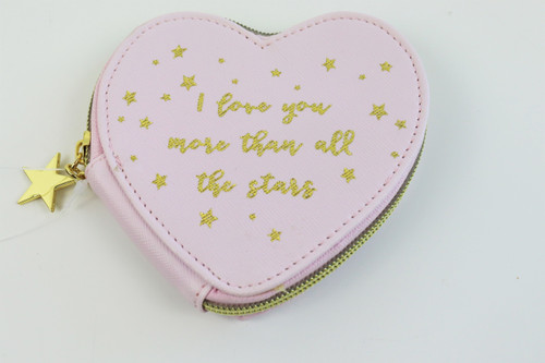 Pastel pink heart shaped purse with metal zip Gold writing says: I love you more than all the stars Colour: Pink, Gold Material: 100% Pvc Dimensions: L11 x W2.5 x H10 cm
