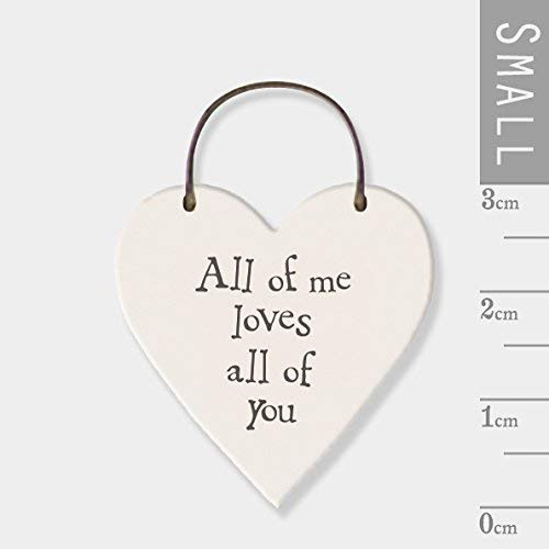 "A Lovely mini wooden Tag with the quote "" All of me Loves All of You"" Each Little Tag Is About The Size Of A 50p Piece. 3cm Top of Heart to Bottom. Wire extend another 2.5 - 3cm above Painted Cream with Grey Print. Slightly distressed, non perfect Finish"