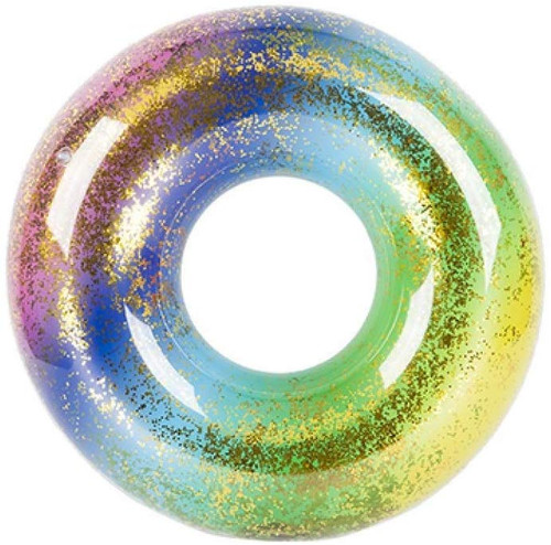 Wild n Wet Inflatable Glitter Filled Rainbow Swim Ring Summer Beach Pool Float Rubber Ring 36""
