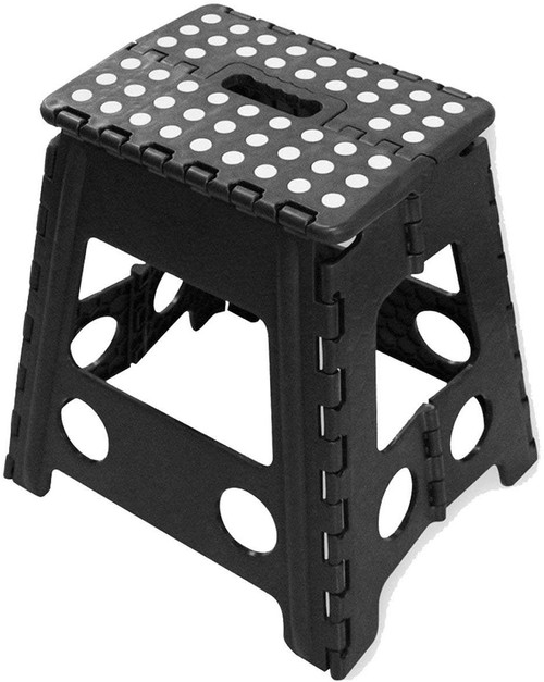 B4E Large step stool Portable Fold Up Footstool for Kitchen, Bathroom, Toilet, Caravan | for Children, Kids, Adult | Collapsible, Non Slip - Large - Black