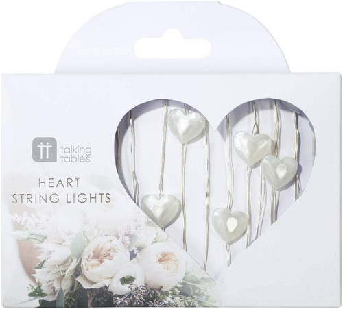 Talking Tables WHT Modern Romance 30 Pearl Heart Shaped Led String Lights Silver Wire 3M, Copper, Multicolour