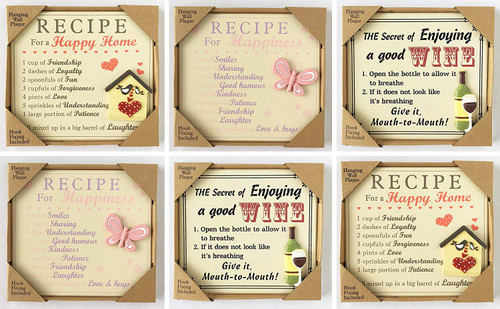 Pack of 6 Hanging Wall Plaques- Happy Home, Wine & Happiness Decoration