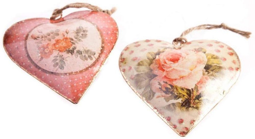 Floral Vintage Hanging Heart Decoration - Red Rose