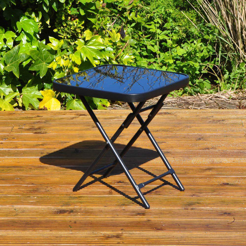 Kingfisher Folding Drinks Side Garden Patio Table - Black
