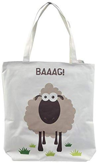 BAAG Sheep Cotton Tote Shopping Gift Bag with Zip and Lining