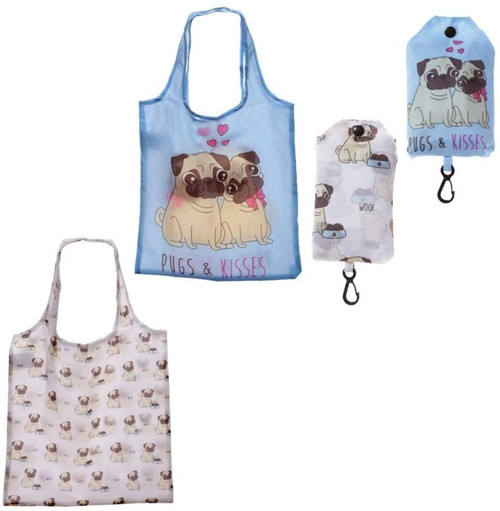 Handy Fold Up Pug Design Shopping Bag with Holder