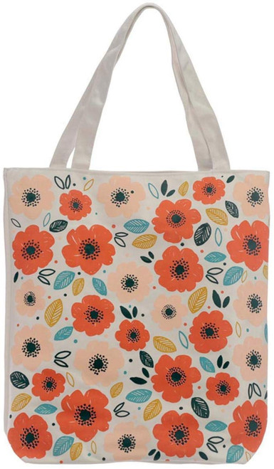 Handy Cotton Zip Up Shopping Bag - Poppy Fields