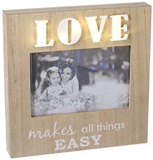 Heaven Sends Light Up 'Love Makes all things Easy' Wooden Photo Frame