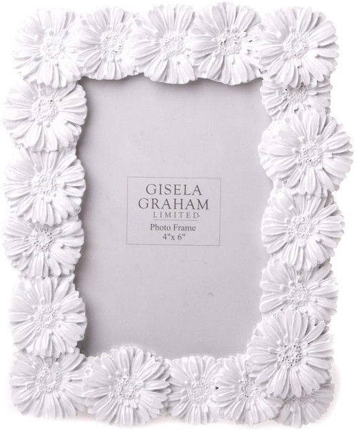 White Gloss Resin Daisy Picture Frame - 17x21cm
