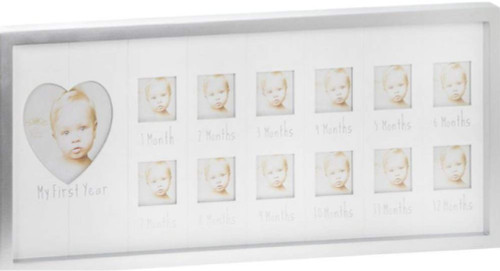 SENTIMENTS Silver Baby 1ST Year Frame