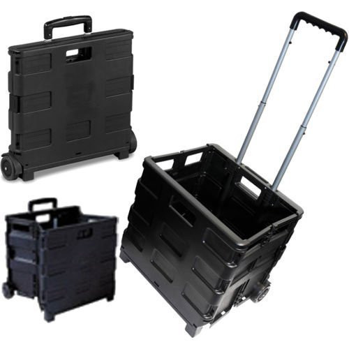 25KG FOLDING SHOPPING TROLLEY STORAGE BOOT CART BOX CRATE CAR VAN CAMPING BLACK