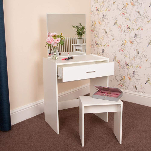 Wido White Dressing Table With Stool And Mirror