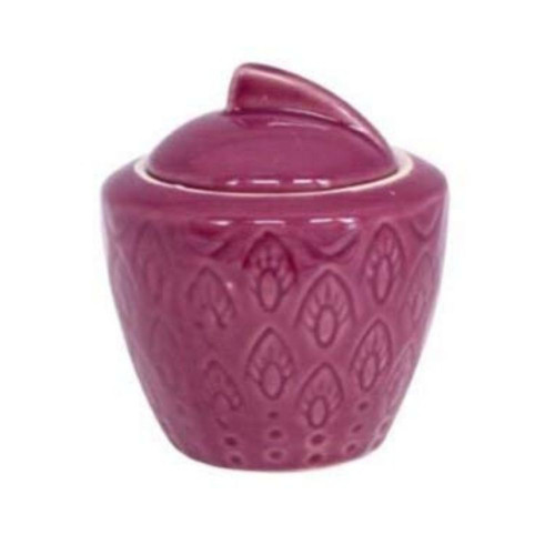 Plum Deco Stoneware Sugar Pot