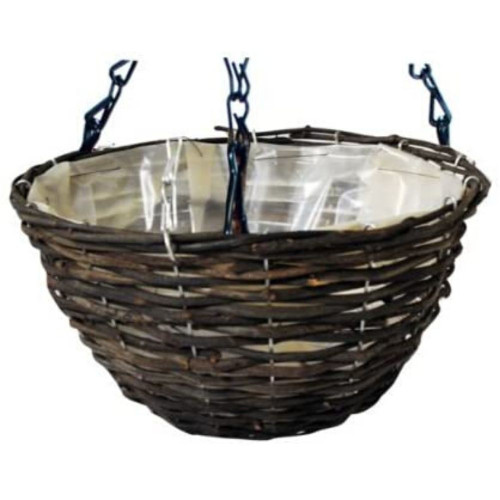 Kingfisher Dark Rattan Hanging Basket