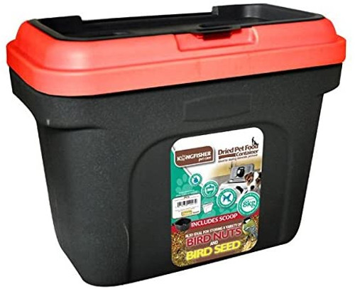 Kingfisher Pet Or Bird Food Storage Tub, 19 Litre. Black Body and Red Lid