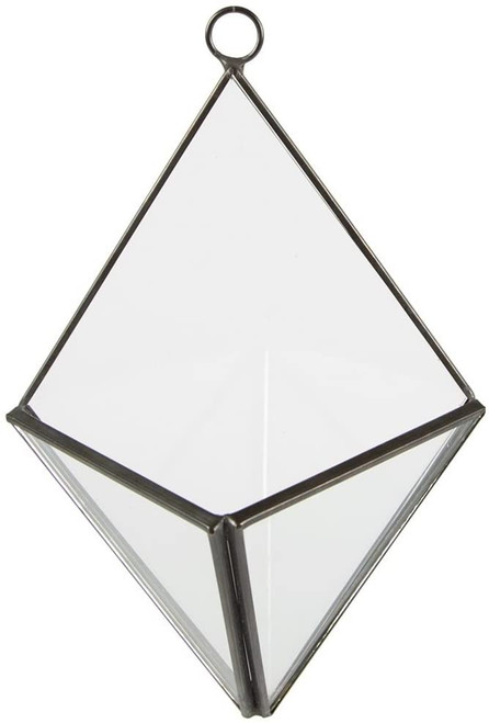 BLACK PYRAMID WALL MOUNTED TERRARIUM PLANTER GLASS GIFT
