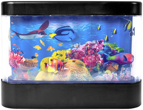 Global Gizmos  LED Living Aquarium Lamp | Motion | Childrens Night Light | Fish/Turtle/Stingray |Built in Timer | Battery Operated| No Water, Black