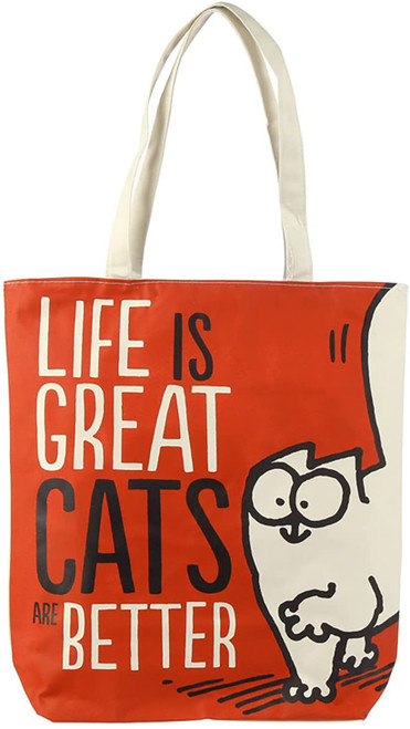'Life is Great Cats are Better' Simon's Cat Cotton Bag