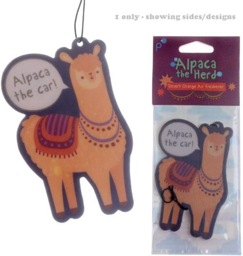 Funky Alpaca Design Orange Scented Air Freshener