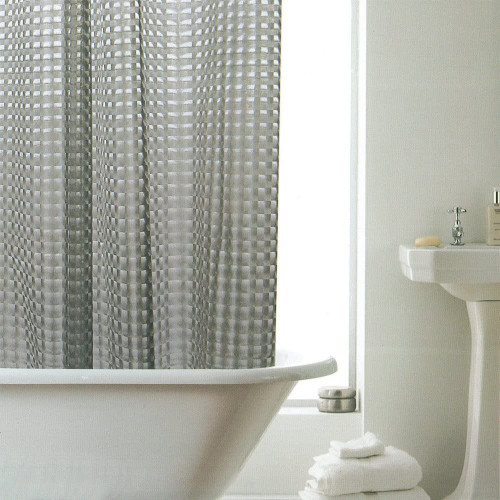 Easy Hang Hookless Ring Top Smoke 3D Effect Bath Shower Curtain