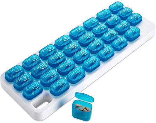 Monthly Pill Organiser Pop Out Compartment Pods Ideal for Vitamins and Medications