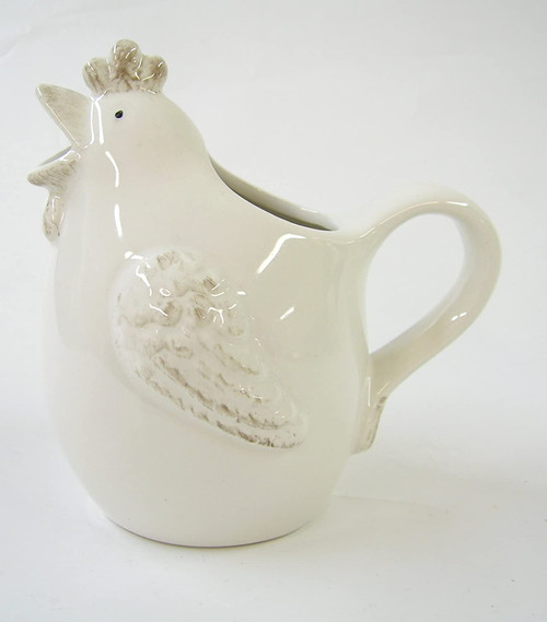 White Ceramic Hen 'Glug' Jug- Small