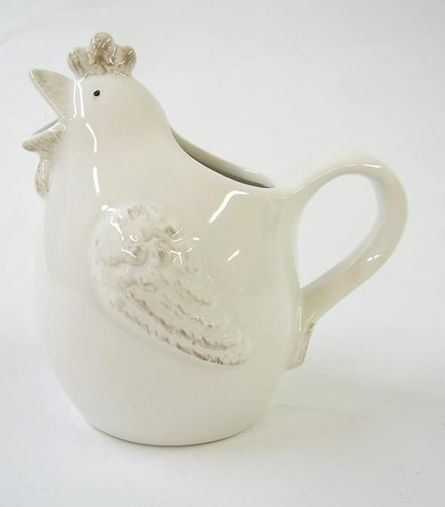 White Ceramic Hen 'Glug' Jug- Small