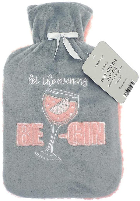 Sherpa Back Hot Water Bottle (Let The Evening Be-Gin)
