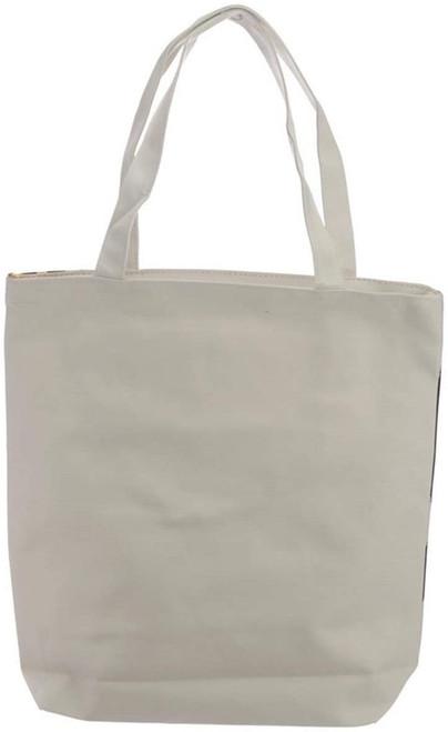 B Handy Cotton Zip Up Shopping Bag - Zebra Print Wild Life