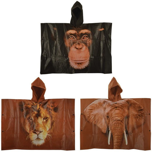 Childrens Kids Safari Animal Hooded Waterproof Poncho Monkey Elephant Lion 6+ yr (Lion)