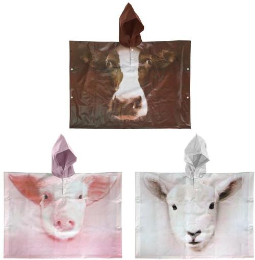 Kids' Farm Animals Poncho