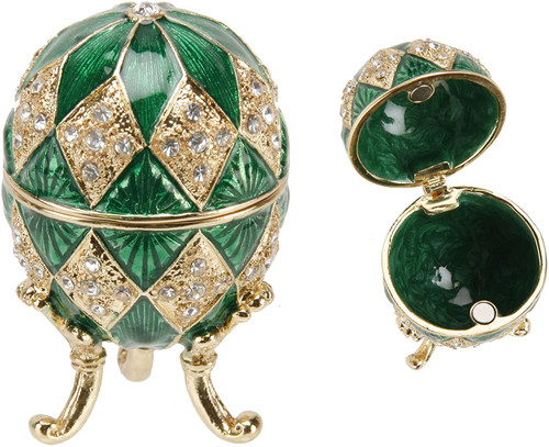 Green Ornate Egg Treasured Trinkets Keepsake Box Juliana  Faberge Egg Style