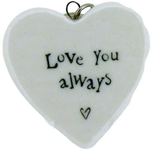 Love You Always Porcelain Heart Keyring