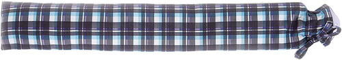Extra Long Hot Water Bottle With blue tartan cover