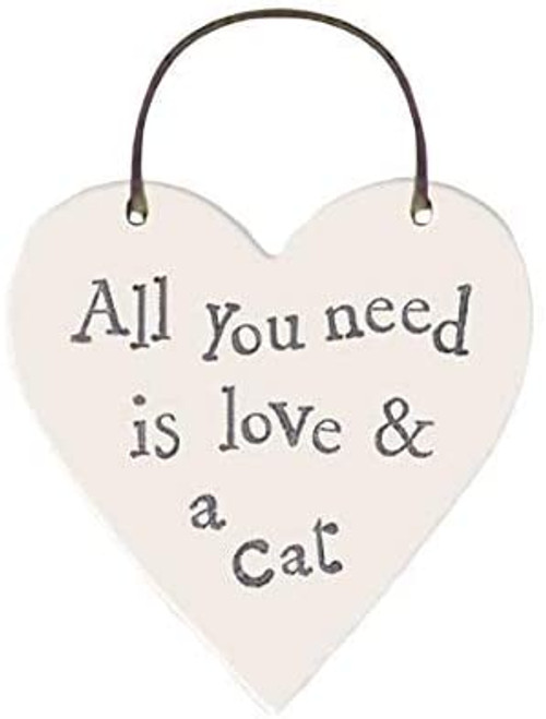 Mini wooden heart on wire hanger: Love & A Cat