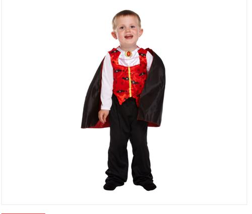 Boys Girls Halloween Witch Vampire Devil Spider Fancy Dress Frankenstein Costume (2-3 years, Toddler Vampire)