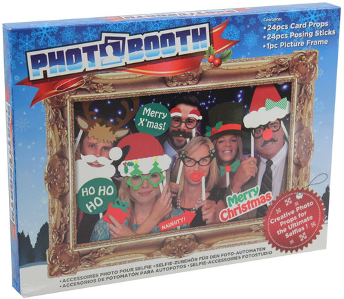 PHOTO BOOTH SELFIE PROPS W/PICTURE FRAME - XMAS PAR