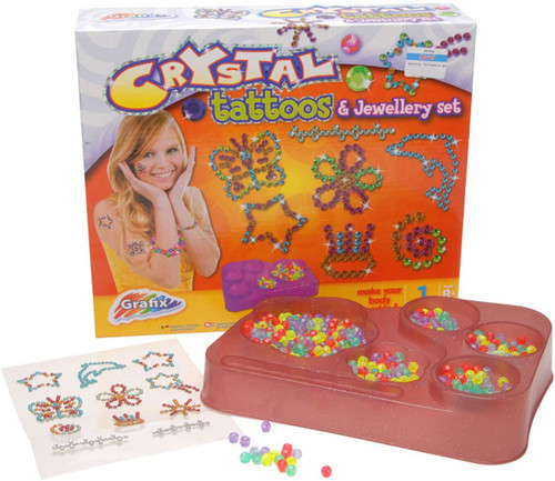 Crystal Tattoos And Jewellery Set (Tray Color May Vary)