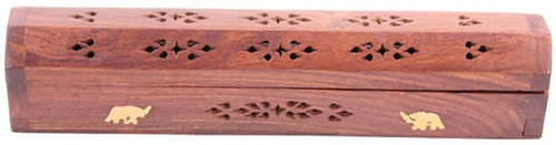 Eazydeal Sheesham Wood Incense Box with Brass Inlay Elephants
