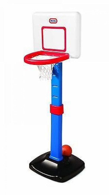 Product Description  Tot Sports Easy Score Basketball Set is perfect for the budding athlete! Encourage them to jump high, stand tall, and shoot the ball!  Great for toddlers; adjustable height to grow with your child. Height can be adjusted from 2 1/2 to 4 feet •Includes an oversize rim and junior size basketball •Easy-to-assemble 2-piece rim for secure play •NBA style backboard •Develops social and motor skills and coordination  Box Contains  1 x basketball set and accessories