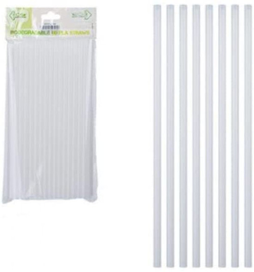 PACK OF  WHITE ECO PLA STRAWS