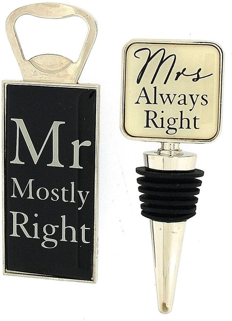 Amore Mr Mostly Right Bottle Opener & Mrs Always Right Bottle Stopper Wedding Gift Set By Juliana